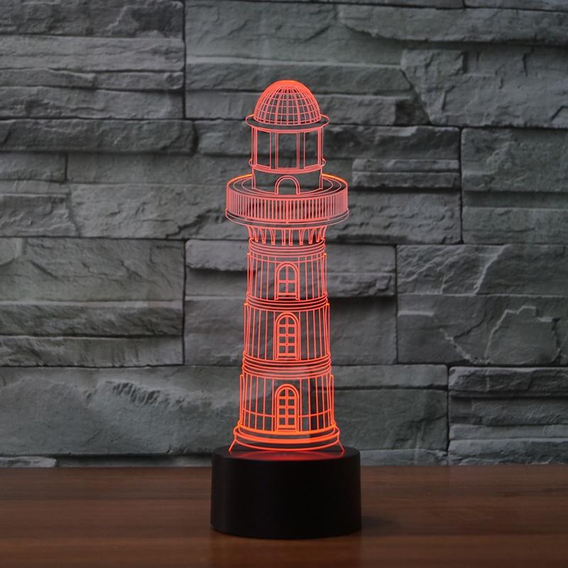 7 couleur changeante 3D phare lampe de Table LED veilleuse la balise pour enfants tactile USB lampara bébé sommeil éclairage décor cadeaux