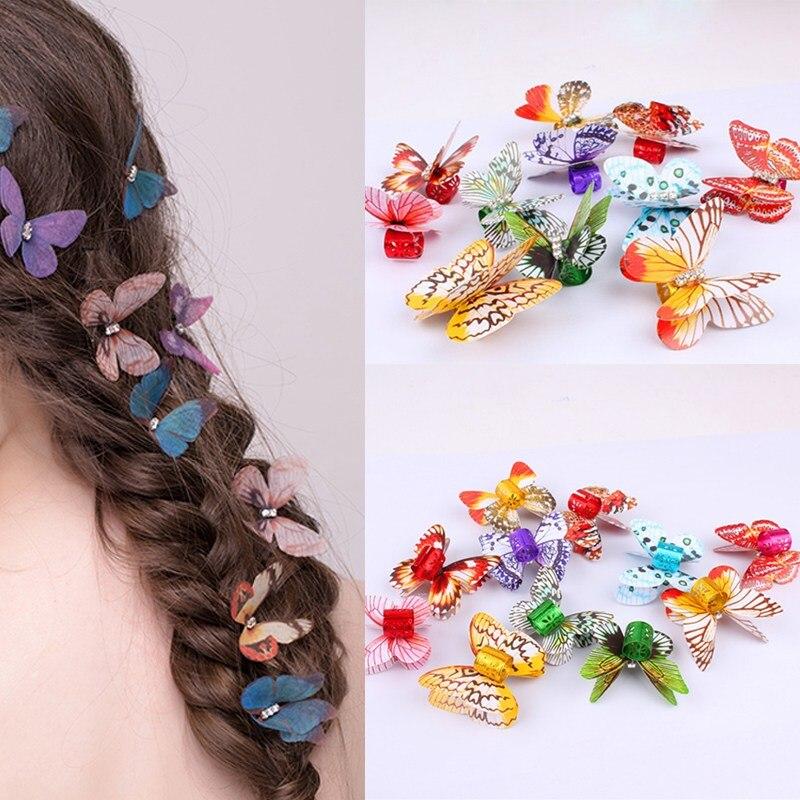 Brincos coloridos de trança de cabelo, ferramenta de penteado de borboleta com 10 unidades/pacote