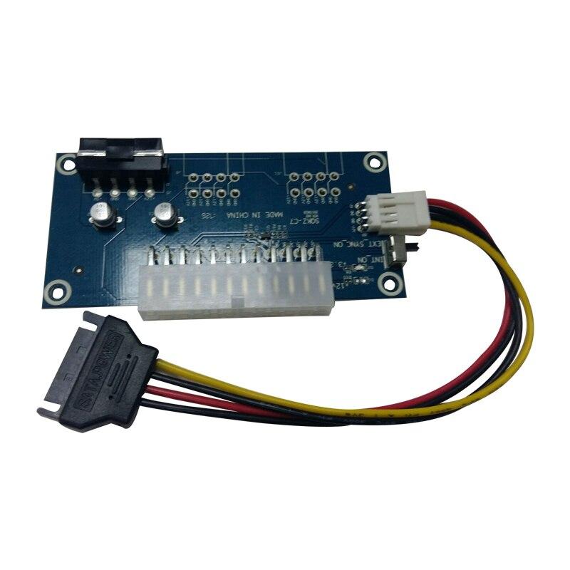 Ordenador de sobremesa ATX 24Pin fuente de alimentación Dual PSU Sync Starter Extender Cable para Bitcoin BTC Miner expandido Ded + interruptor Manual