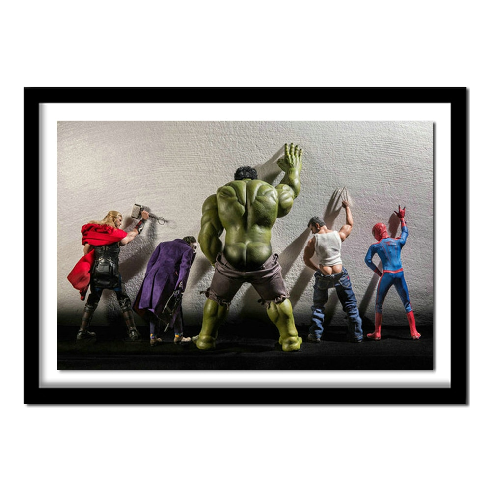 Hulk superman ass diy pintura diamante broca resina cheia diamante bordado needlework 3d kits de ponto cruz casa de banho decoração