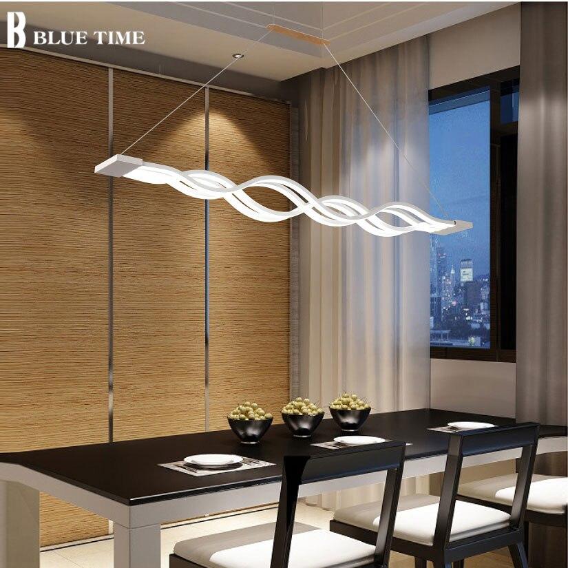 موجة تصميم الثريا لغرفة الطعام أسود أبيض الثريا أضواء الثريا الحديثة led الإضاءة التيار المتناوب 85-260 فولت 100 سنتيمتر 120 سنتيمتر