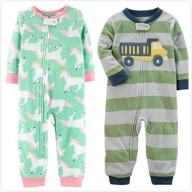 Ropa de bebé unicornio fleece bebes jumpsuit pijamas de invierno bebés niños ropa niño bebé niña peleles de cuello alto 9-24m