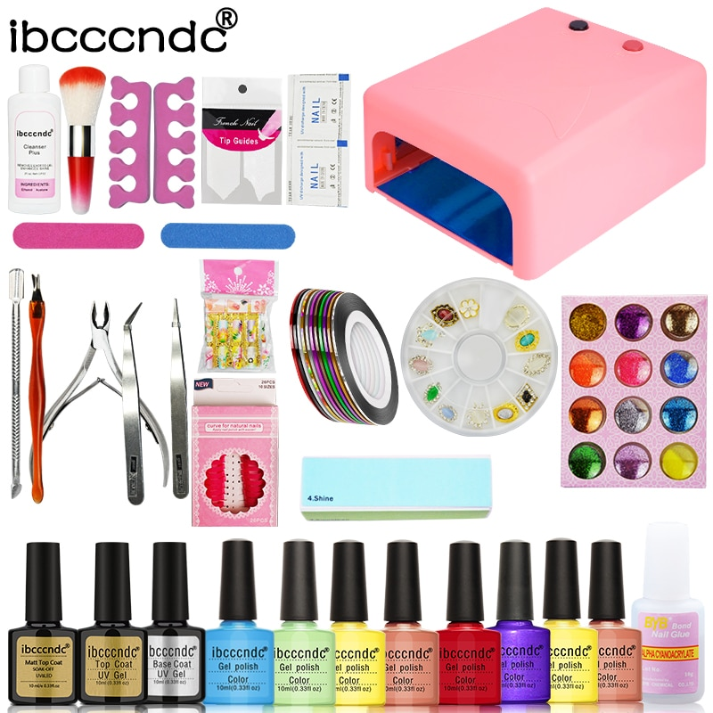 Kit de juego de manicura 36W lámpara UV + 8 colores 10ml Gel Base mate capa superior Gel UV con removedor Glitters calcomanías herramientas de manicura