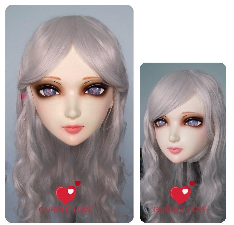 Feminino Doce Menina Resina Meia Cabeça Kigurumi Bjd Máscara Cosplay Anime Japonês Papel Lolita Realista Real Crossdress Boneca Gl006