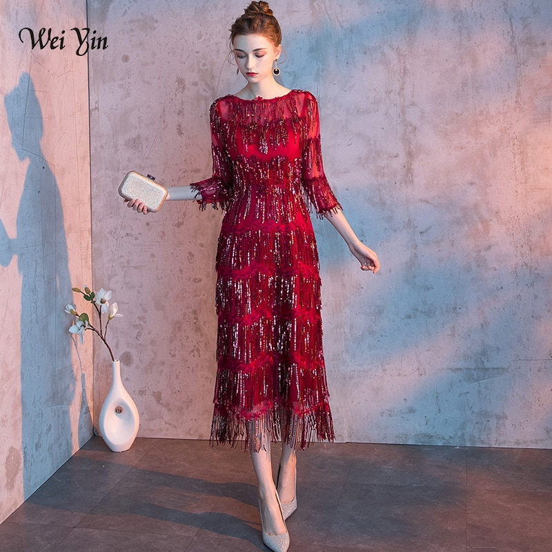 wei yin 2021 New O Neck Sequin Gown Sexy Mermaid Dress Elegant Tasse Evening Dresses Vestido Formal WY1636