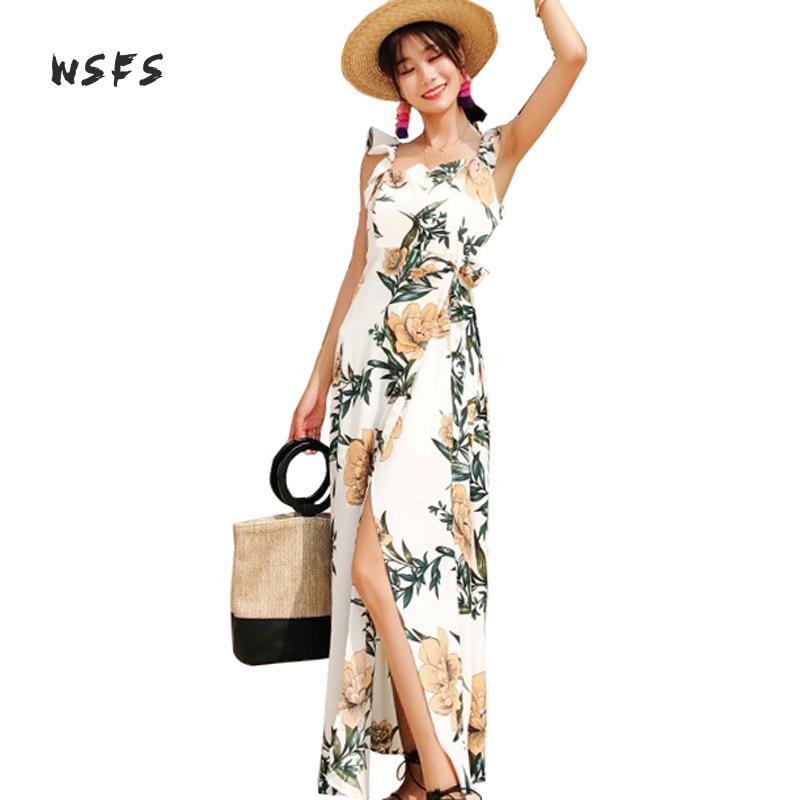 Summer White Beach Dresses Floral Spaghetti Strap Backless Ruffles Boho Women Dress Bodycon Bohemian Sexy Long Dress Vestidos