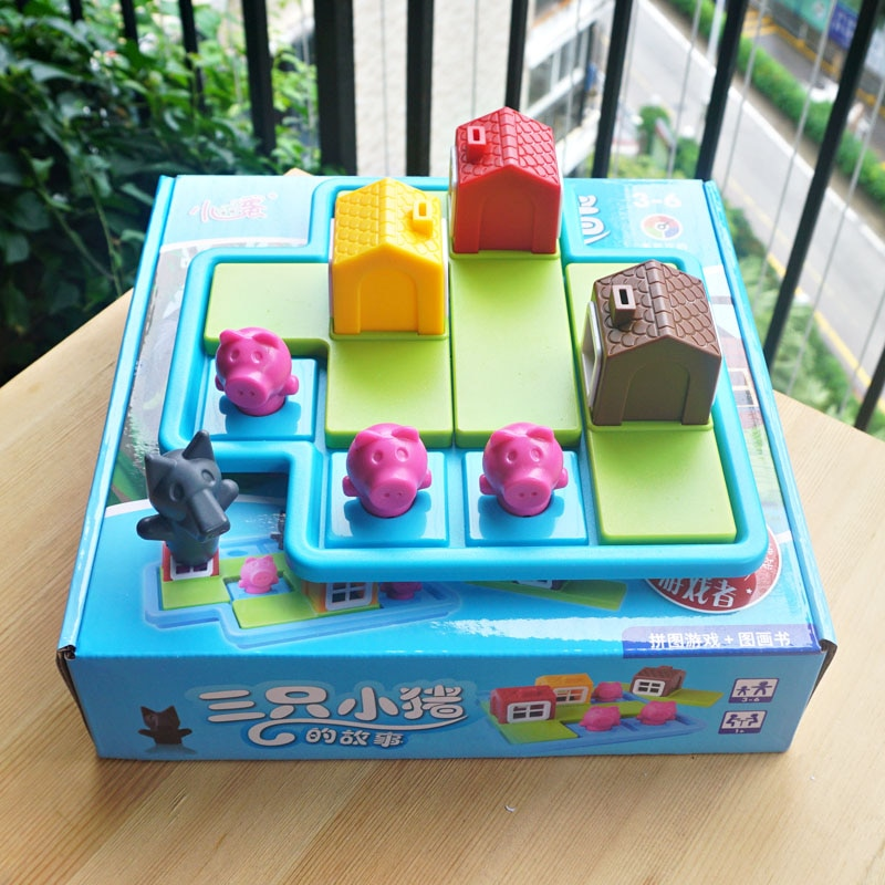 لعبة ألغاز بتصميم الخنازير والذئب للعب الغميضة ، لعبة ألغاز مكونة من 48 تحديًا مع حل ألعاب لوحة استراتيجية ، لعبة تدريب الذكاء ، هدية