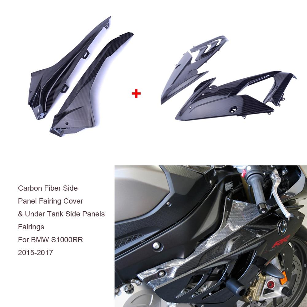 Cubierta de relleno de Panel lateral de fibra de carbono de sarga para motocicleta carenado + paneles laterales debajo del tanque carenados para BMW S1000RR 2015-2017 2016