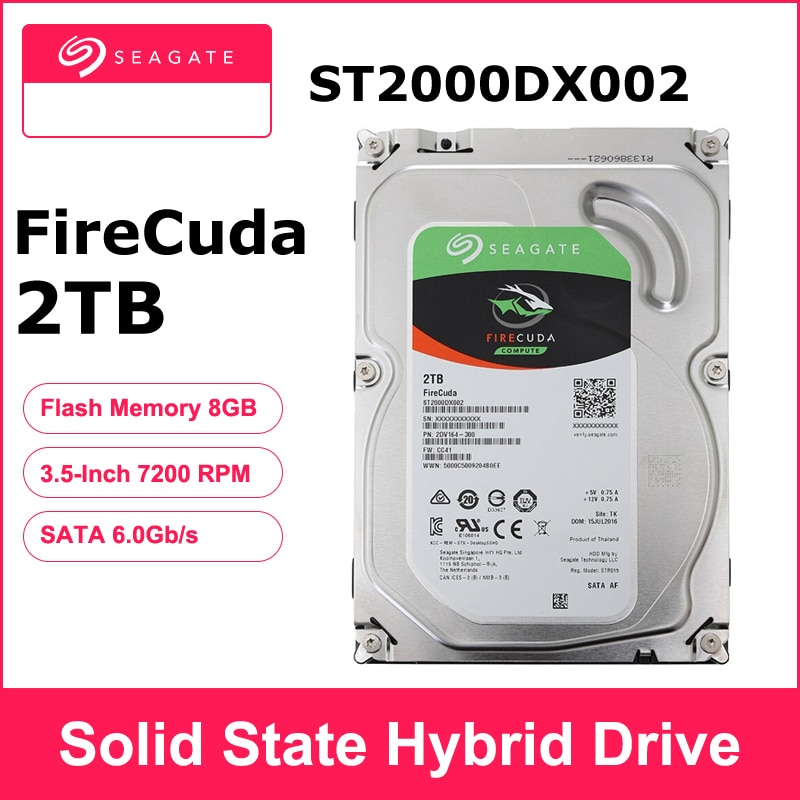 Seagate firecuda 2 tb st2000dx002 jogos de 3.5 polegadas sshd (unidade híbrida de estado sólido) 7200 rpm sata 6 gb/s cache 64 mb disco rígido hdd