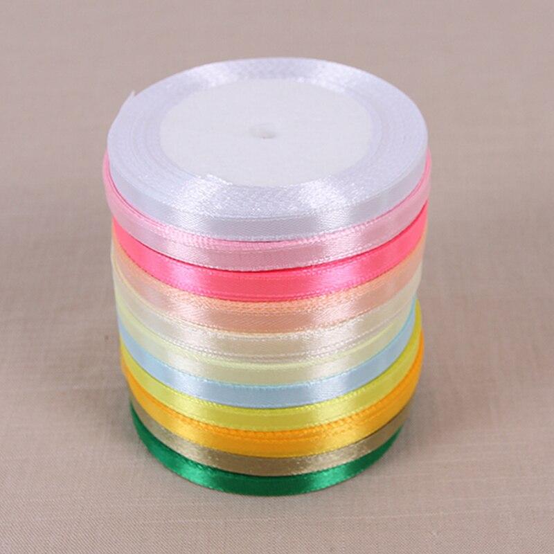 Gran oferta de cinta de satén barata de 6mm y 25 yardas para manualidades y costura, papel de regalo para fiestas de Navidad y bodas, Material DIY hecho a mano