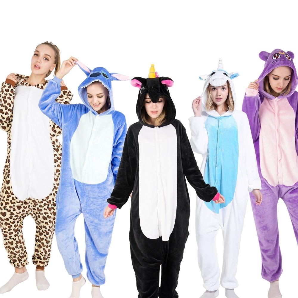 KIGUCOS Onepiece מבוגרים בעלי החיים פיג 'מה Cartoon פנדה הלבשת גברים ונשים מצחיק מתנה Unicorn Onesies חורף Kigurumi פיג' מה