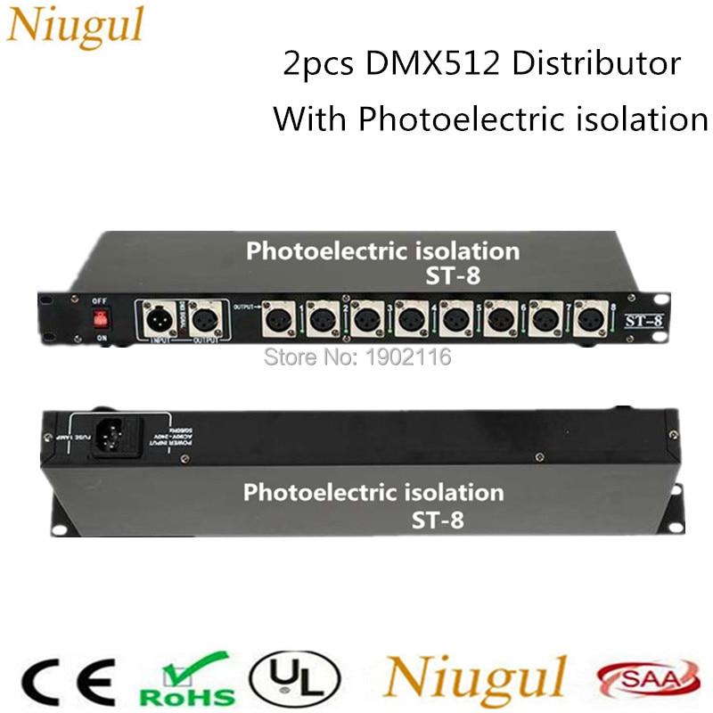 2 قطعة/الوحدة 8 قناة إخراج DMX512 LED تحكم إشارة مكبر للصوت الخائن الموزع مع العزلة الكهروضوئية المرحلة ضوء