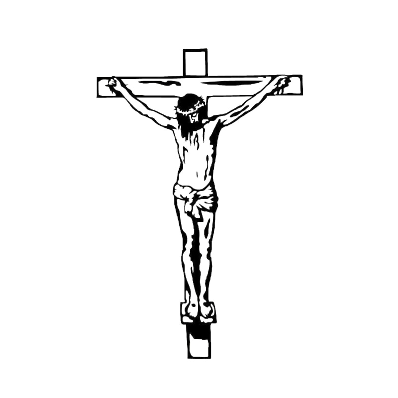 Adhesivo de ventana de coche de vidrio de vinilo con cruz de Jesús de 9cm x 13,7 cm, pegatina de crucifijo negra/plateada S6-3407