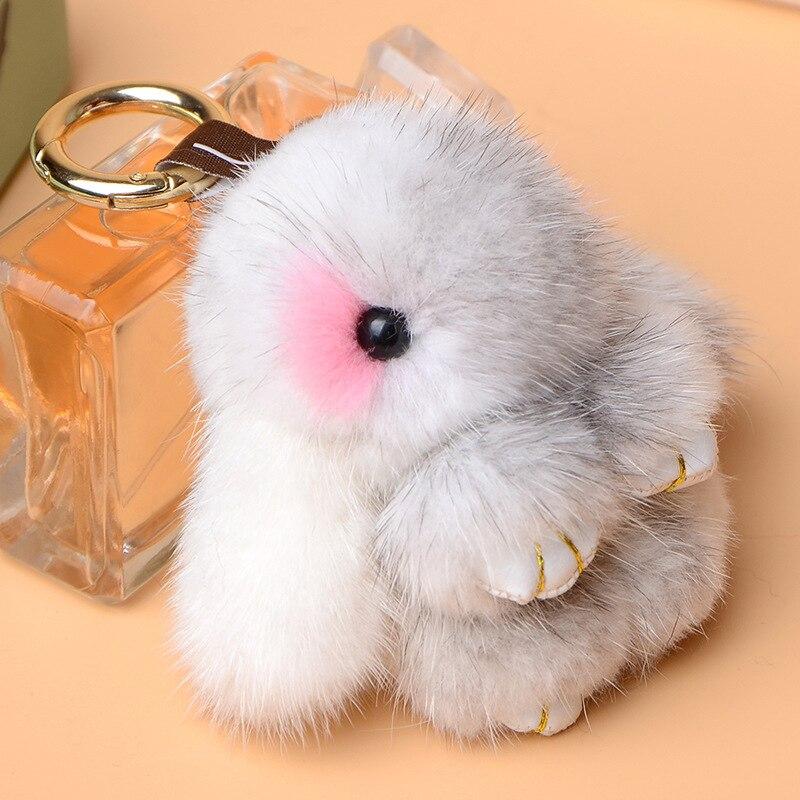 2018 mink fur mini coelho bonito brinquedo de pelúcia keychain