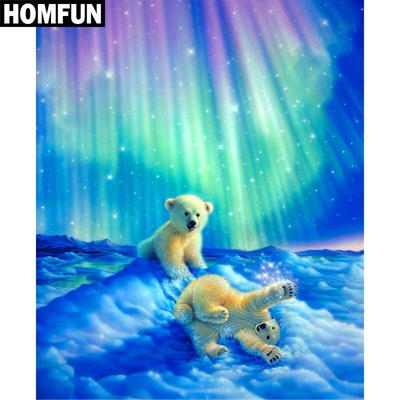 Набор алмазной вышивки HOMFUN 5D, набор для рукоделия «Полярный мишка», алмазная живопись «сделай сам», вышивка крестиком, украшение для дома, п...