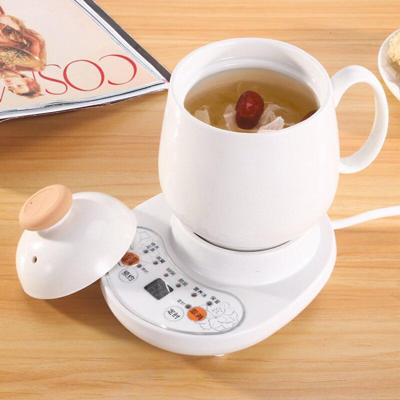 220 v copo mais quente multi-função saúde pot cronometragem cerâmica elétrica copo aquecedor caneca copo de chá mais quente com placa