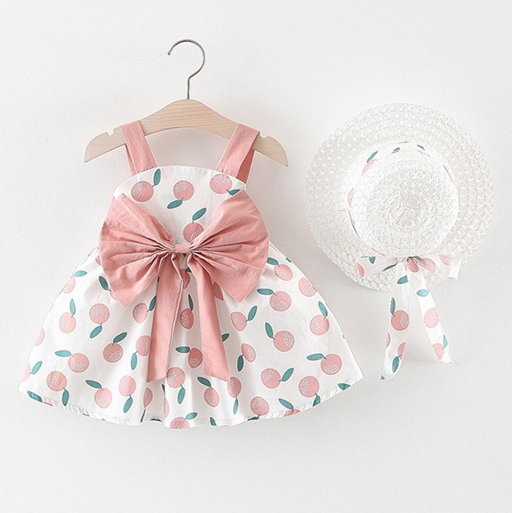 Vestido de bebé infantil + gorro trajes de niña sin mangas estampado naranja princesa sin espalda vestido + sombrero gorra trajes vestido menina