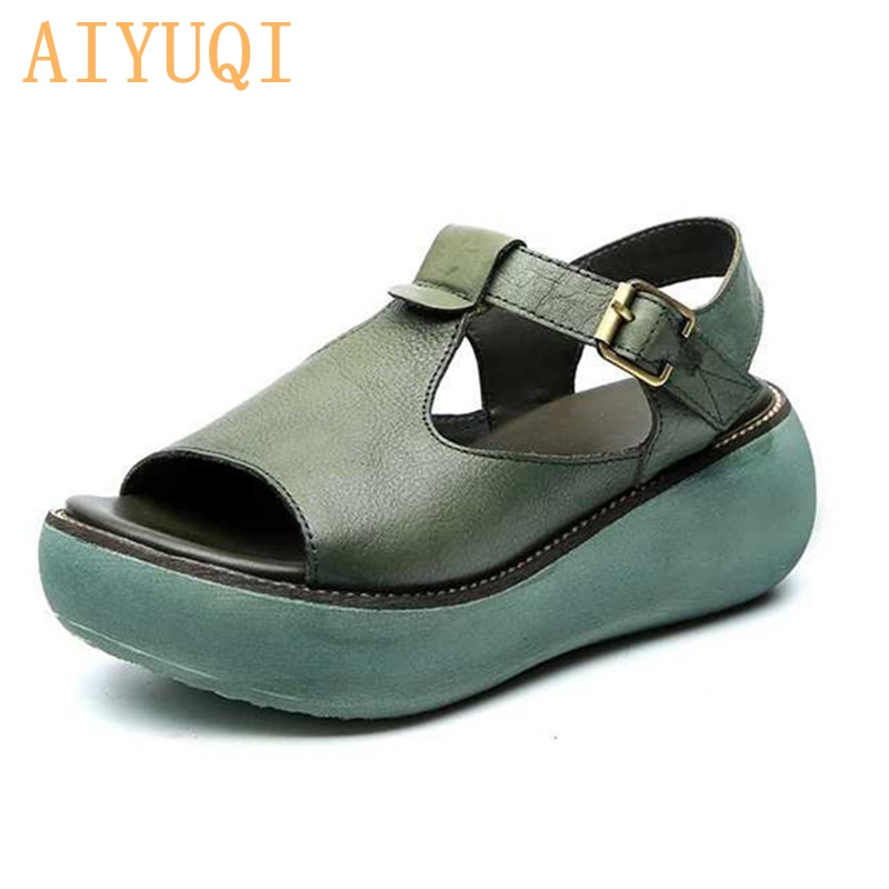 AIYUQI Gladiator sandals women platform 2020 new genuine leather 100% natural retro casual wedge summer footwear