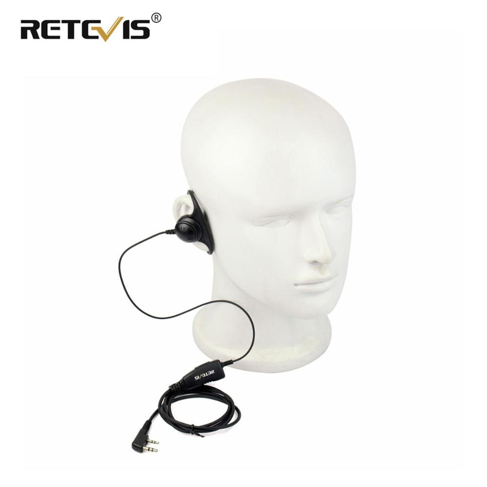 Forma D suave auricular de gancho 2Pin PTT Mic auricular para Kenwood para Baofeng UV-5R 888S Retevis H777 RT5 RT5R para TYT para Puxing