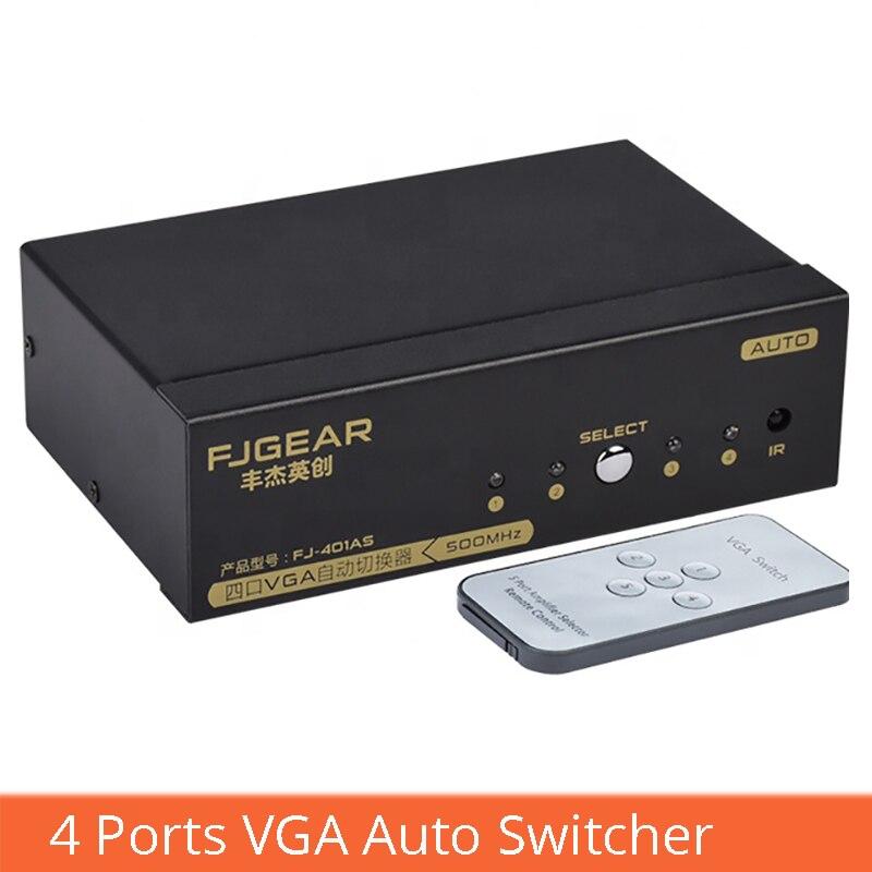 VGA smart switcher 4 en 1 con interruptor de control remoto vga computadora set-top box convertir proyector FJ-401AS
