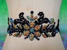 Handmade preto Hot perfuração Rhinestone lace bordados remendo applique bordados vestido de casamento Da Cintura decoração DIY Desempenho