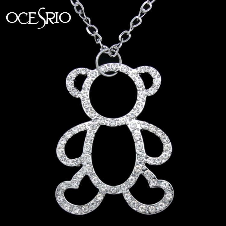 Collar de oso pequeño encantador colgante collar de diamantes de imitación de plata collares de cadena larga de las mujeres lindo oso chica joyería regalos nke-m73