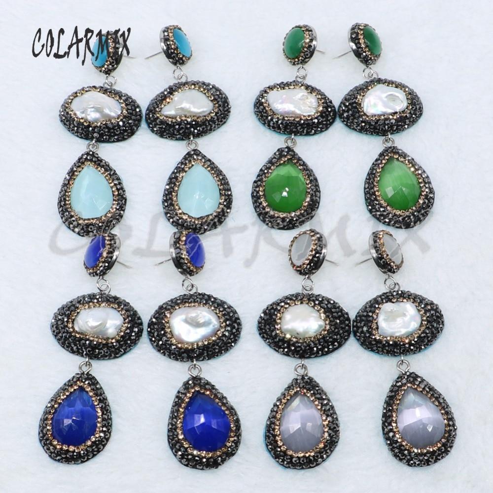 5 أزواج مزدوجة حجر أقراط cateye حجر أقراط druzy مجوهرات أقراط مزيج الألوان والمجوهرات بالجملة 4885