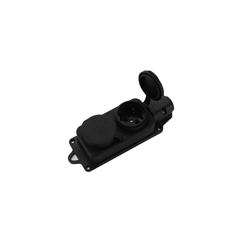 Enchufe industrial de 250V 16 AMP 2 pines enchufes CA interruptor de subcontrol 3600W nivel impermeable IP44 nuevo negro