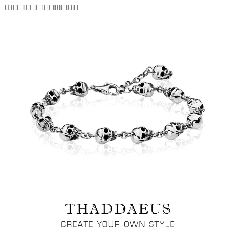 Crânios link chain pulseiras 2019 punk 925 prata esterlina moda rebelde rua jóias thomas estilo para homens presente