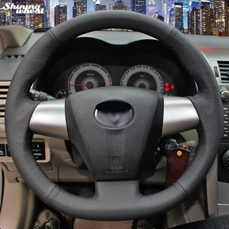 free shipping quality bt steering wheel switches control mode for toyota corolla rav4 2014 2015 car styling BANNIS Hand-stitched Black Leather Steering Wheel Cover for Toyota Corolla RAV4 2011 2012 Car Special