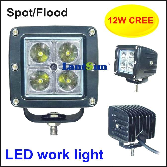 One pair super bright small square 3inch 12w led pod light for wrangler suv atv Off-road vehicles,Trucks,Mining,Trains,Tanks