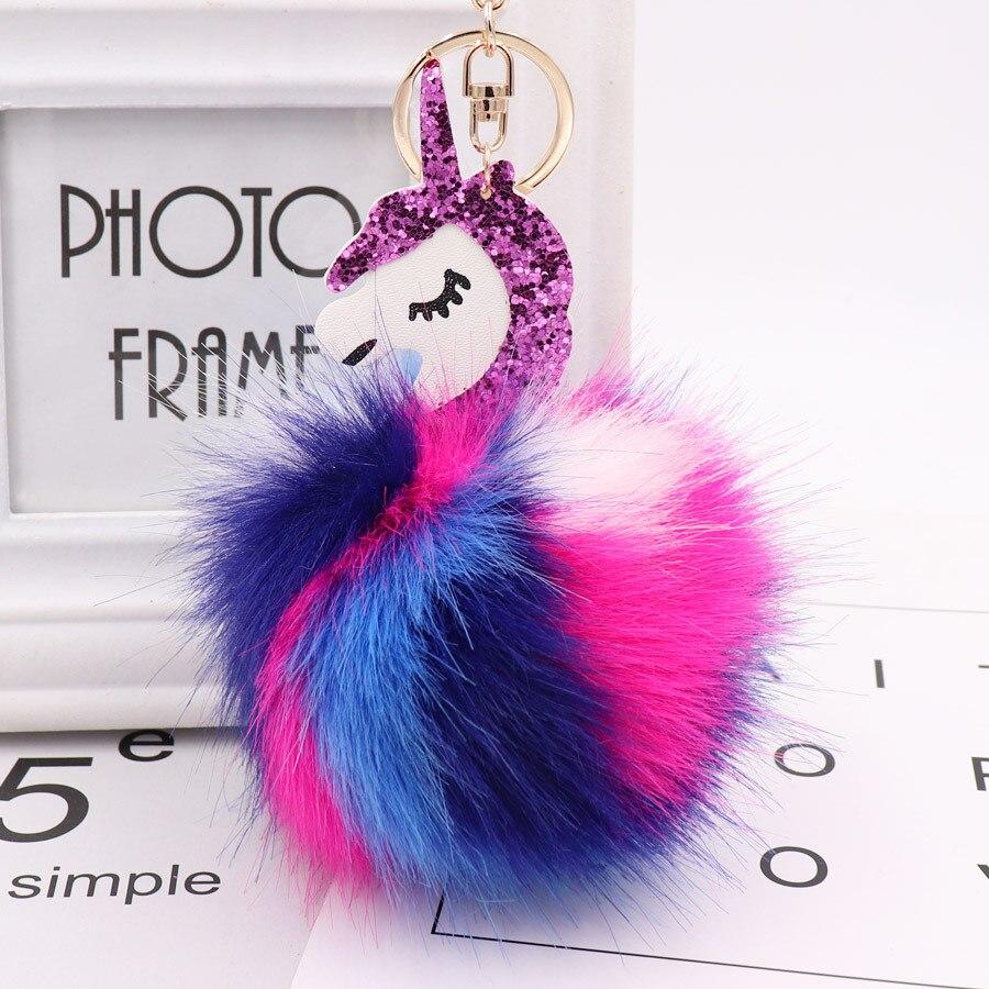 1PC precioso unicornio nuevo colorido precioso pompones imitación conejo piel bola muñeca bolsa coche llavero monstruo LLavero de la joyería
