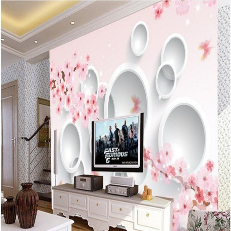 Murales de gran escala personalizados wellyu, Fondo de reflexión tridimensional Sakura, pinturas de pared, papel tapiz no tejido