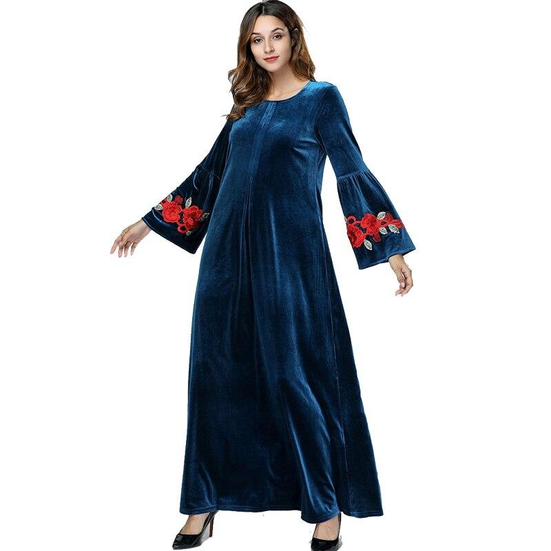 Abaya Kaftan el Islam Omán Qatar Emiratos Árabes Unidos de terciopelo musulmán vestido hijab Jilbab vestido caftán de Dubái abayas para damas ropa islámica turca