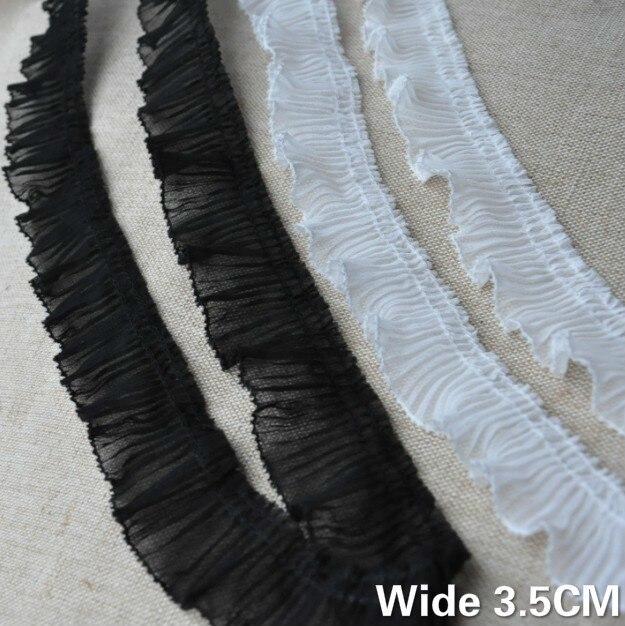 3.5CM Wide White Black Pleated Chiffon Fabric Elastic Ruffle Lace Ribbon Edge Trim Cuffs Neckline Decor DIY For Sewing Supplies