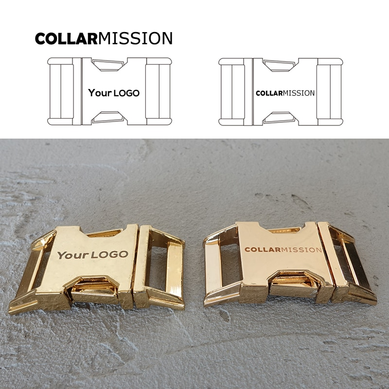 10 unids/lote grabado hebilla ofrecemos grabado láser servicio personalizar logotipo 25mm oro CK25J