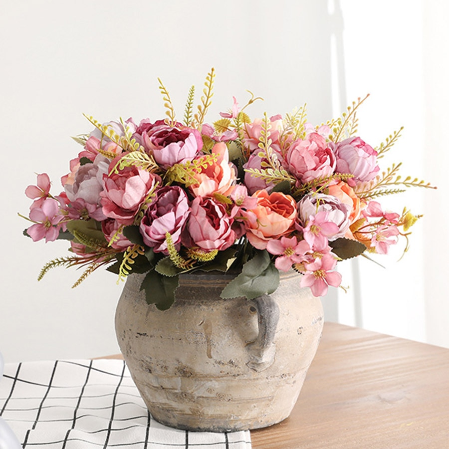 5 cabezas ramo de peonías artificiales flores pequeñas peonías blancas de seda flores falsas boda fiesta casa flor rosa para decoración arte rosa
