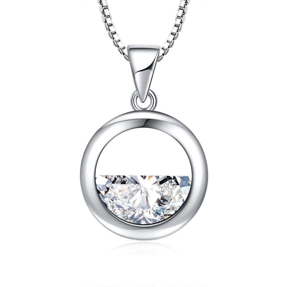 Xiyanike nova moda 925 prata esterlina jóias simples círculo oco semicírculo cristal pedra pingente colar para presente feminino