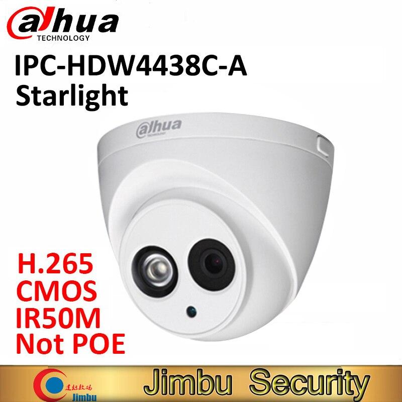 Dahua 4 МП купольная камера starlight IPC-HDW4438C-A IP IR50M H.265 Full HD встроенный микрофон CCTV сетевая камера безопасности не POE COMS