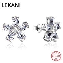 LEKANI Crystals From Swarovski Flower Stud Earrings Real S925 Silver Piercing Fine Jewelry For Women Wedding 2018 Christmas Gift