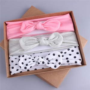 New arrival 3pcs in 1 set Fashion children lovely soft printed hairband BB girl's knot bow headband kid's dot hair accessories