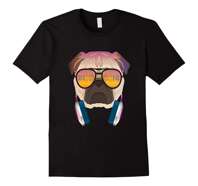 Прохладный меломана DJ Мопс футболка для любителей собак Футболка подарок более