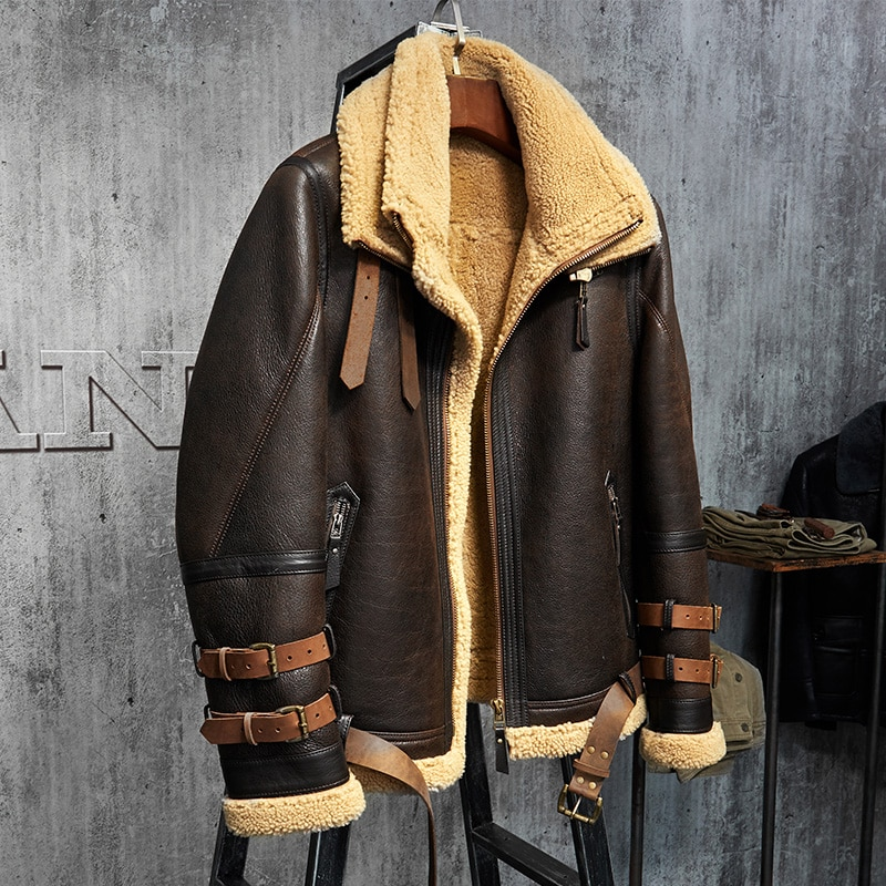 Mens Shearling Jacket B3 Flight Jacket Imported Wool From Australia Short Leather Jacket Mans Fur Coat