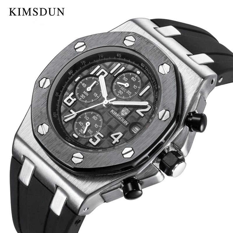 KIMSDUN-ساعة رياضية للرجال ، كوارتز ، مطاط أصلي ، عسكرية ، كلاسيكية ، ذات نوعية جيدة ، فاخرة