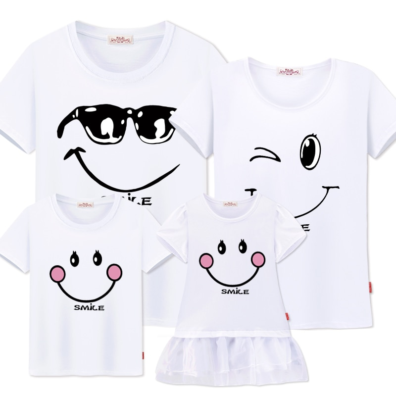 family matching clothes Mother daughter dresses outfits cotton casual T-shirts family Look cotton mother father son clothing