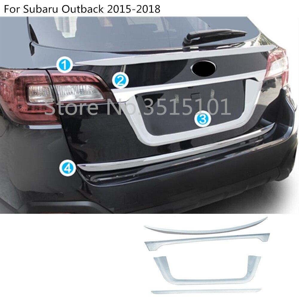 Estilo de coche ABS cromado puerta trasera de la licencia de la puerta trasera parachoques embellecedor de bastidor de la lámpara del maletero para Subaru Outback 2015 2016 2017 2018