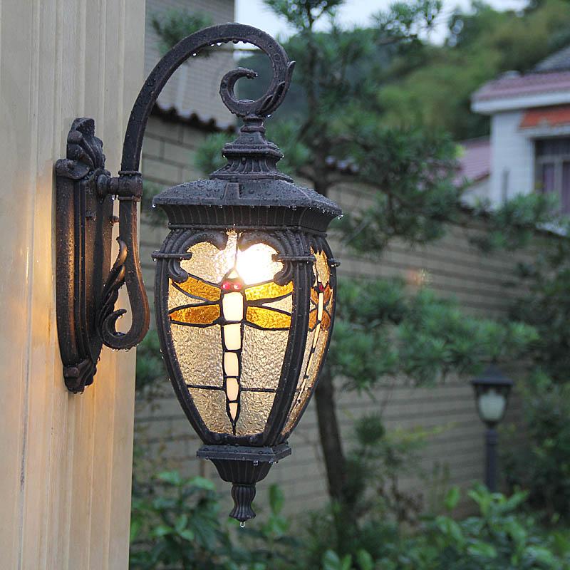 1 Uds. Novedad libélula Luz de jardín aluminio Baño Luz lámpara de pared impermeable al aire libre lámparas de pared camino balcón luces de pared