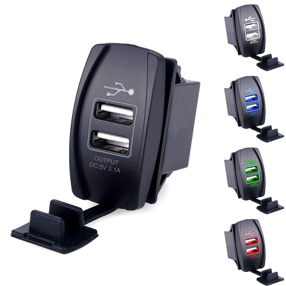 Cargador USB Dual impermeable de 2 puertos para motocicleta de coche Universal para iPhone Samsung 3.1A Mini adaptador de cargador de coche