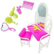 1x rose princesse poupée mode creux chambre meubles commode coiffeuse chaise miroir accessoires pour Barbie poupée enfant jouet
