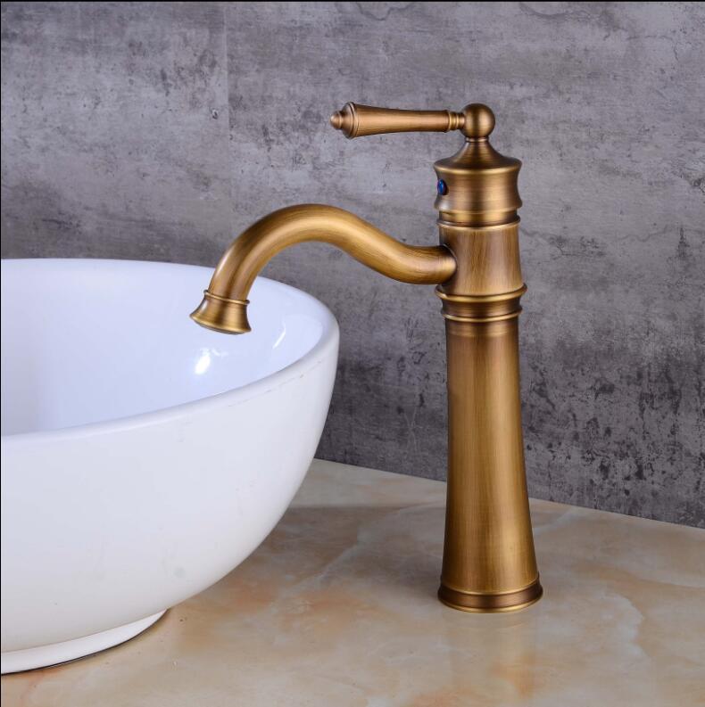 Antique Brass Basin Faucet  Brass Basin Crane Rotating Bathroom Sink Faucet Single Handle Waterfall Faucet Wash basin Mixer Taps